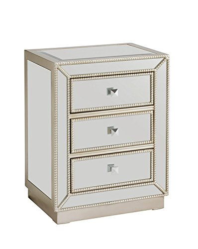 Treasure Trove Accents Elsinore Accent Three Drawer Chest, 20-Inch, Silver (3 Chest Drawer Painted)