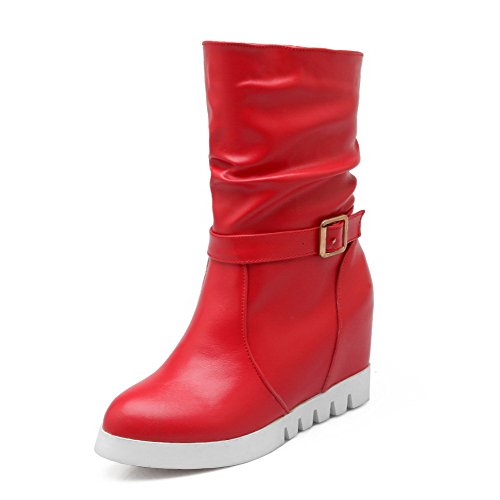 Top AgooLar Materials Pull Closed buckle Blend Mid Women's Red Round On Toe Boots aqIqB
