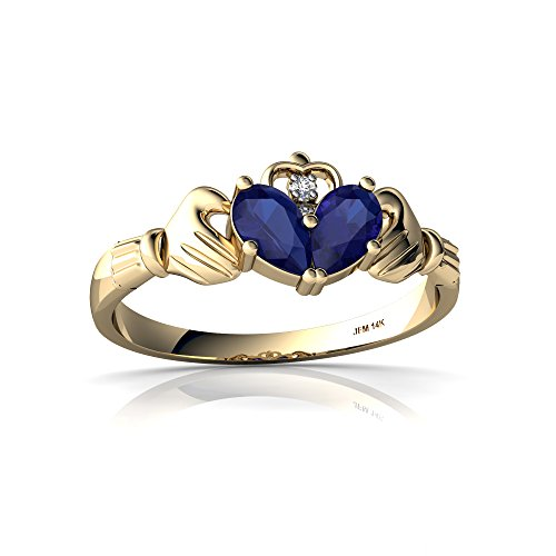14kt Yellow Gold Lab Sapphire and Diamond 5x3mm Pear Claddagh Ring - Size 4.5 (Yellow Gold Sapphire Claddagh Ring)