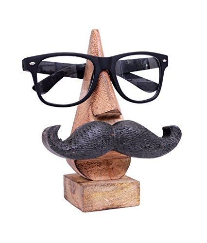 Purpledip Wooden Spectacles Stand Glasses Holder 'Moostachio': Quirky Design With Moustache; Memorable Gift -