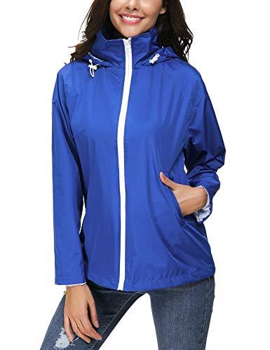 LOMON Women's Lightweight Casual Jackets Waterproof Packable Bomber Rain Jacket Softshell Casual Sportswear Blue XXL ()