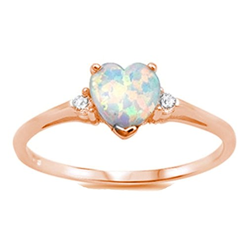 925 Sterling Silver Ring Rose Tone Rhodium PL Heart Shape Lab Created White Opal and Clear CZ accent - Gold Opal Heart Ring