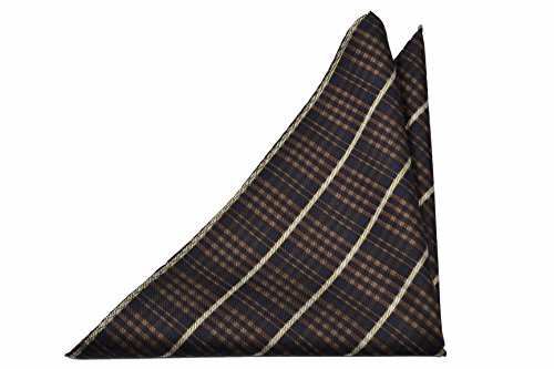 in beige Pocket dark and Notch pattern Plaid brown Silk blue Men's white Square 76SqYpw
