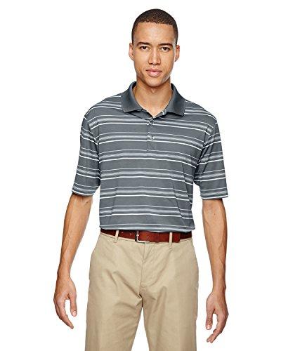 adidas Golf Men's Puremotion Textured Stripe Polo, Lead/White, X-Large