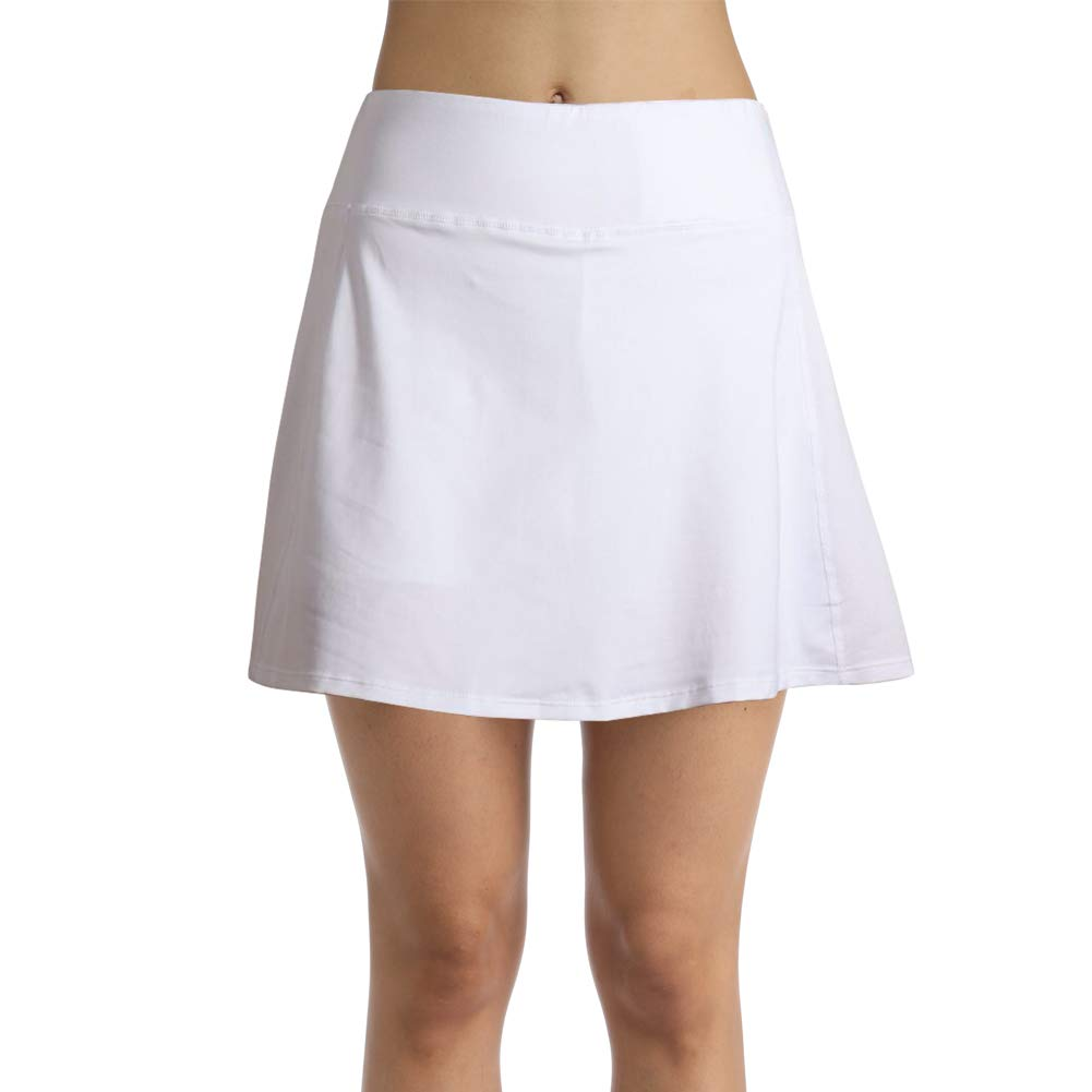 Ultrafun Women Athletic Sports Skort Stretchy Tennis Golf Skirt with Inner Shorts Pocket for Running Fitness Workout (White, Medium) by Ultrafun