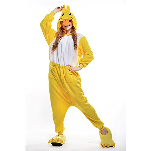 [Amurleopard Coverall Pajamas Hoodie Animal Costumes Cosplay Duck S] (Duck Costumes Adult)