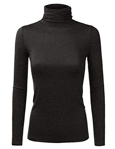 JJ Perfection Women's Lightweight Stretchy Turtle Neck Ruched Long Sleeve Top Plus Size Charcoal 2X ()