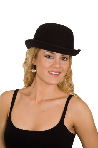 Jacobson Hat Company Men's Adult Deluxe Felt Derby (4.5 Inch Tall), Black, Adult Large - Hat Black Felt Deluxe Top