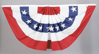 - Valley Forge, American Flag Bunting Banner, Polyester, 3' x 6', Pleated Fan Flag with Stars and Stripes