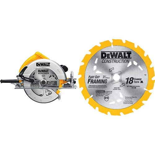 DEWALT DWE575 7-1/4 in. Lightweight Circular Saw with DEWALT DW3192 Construction Series 7-1/4-Inch 18 Tooth ATB Thin Kerf Framing Saw Blade with 5/8-Inch and Diamond Knockout Arbor