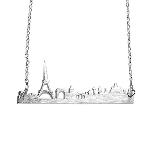 Art Attack Silvertone Paris France City French Skyline Cityscape Eiffel Tower Outline Pendant Necklace -