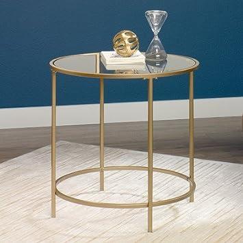 Golden Finished Sleek Glass Surfaced Alsager End Table