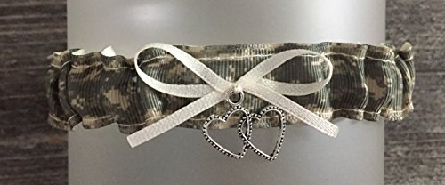 Military Branch Of Service Digitial Ivory Satin Wedding Bridal Toss Garter - Double Heart Charm -