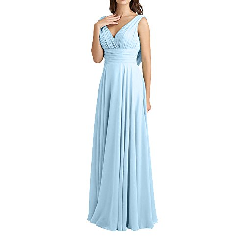 Brautjungfernkleider V Blau Damen Lang linie ausschnitt Chiffon A Himmel Traube FOrmalkleider Abendkleider Elegant Charmant Neu UAqYY