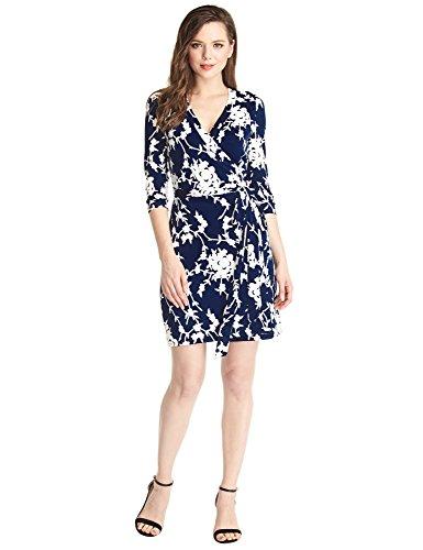 und Damen Weißem Effekt Schwarz mit und Blau Wickelkleid Blau Kurzes Grapent 3D Formales Blumenmuster BdqFFR0