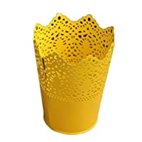 Da.Wa Plastic Hollow Flower Vase Brush Storage Pen Pencil Pot Container Desk Organizer Decorative Home Vase(Yellow)
