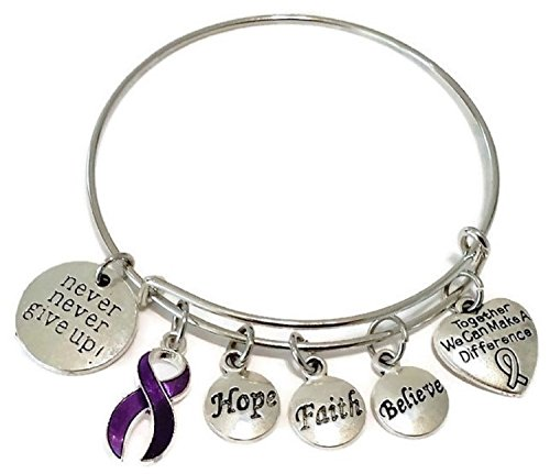 Purple Ribbon bracelet, Purple Ribbon jewelry, Cancer Awareness jewelry, Pancreatic Cancer Awareness, Alzheimers's Disease, Purple Ribbon bangle bracelet
