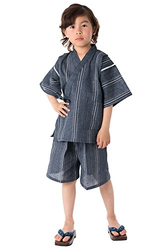 KYOETSU Boys Japanese Jinbei Kimono Shijira Stripe
