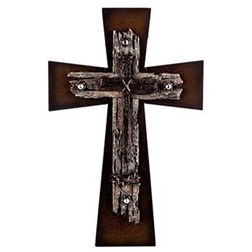 Beautiful Metal Layered Bronze Cross with Nails Home Wall Decor 13