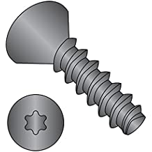 """Steel Thread Rolling Screw for Plastic, Black Oxide Finish, 82 Degree Flat Head, Star Drive, #10-14 Thread Size, 3/4"""" Length (Pack of 100)"""