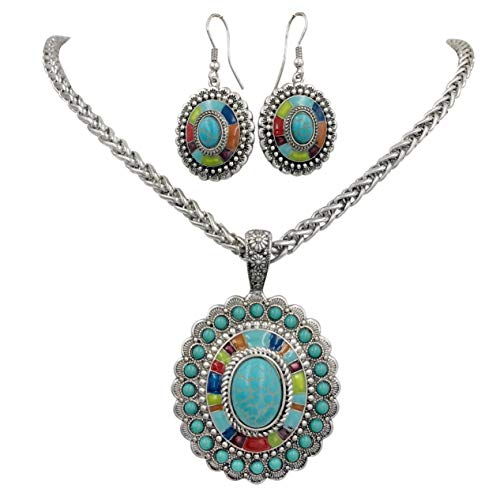 Gypsy Jewels Multi Color Simple Pendant Silver Tone Imitation Turquoise Boutique Style Statement Necklace & Dangle Earring Set (Oval 1)