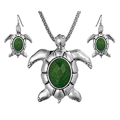 "Top Turtle Theme Magnetic Function Pendant Necklace Set in 18"" Popcorn Chain Earrings by Jewelry Nexus supplier"