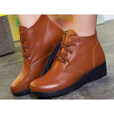 UK6 De EU39 Botas Botas De Nappa US8 Marrón Casual Talón Moda CN39 Botines Mujer Botines Invierno Zapatos Negro Chunky RTRY Cuero H84OOq