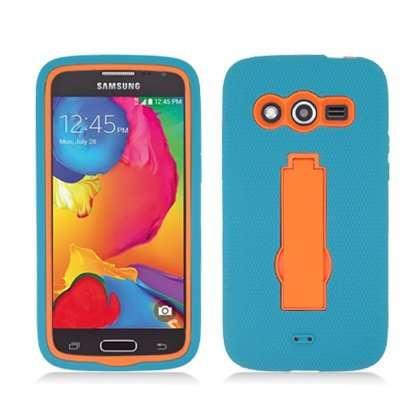 AIMO WIRELESS For Samsung Avant G386 (T-Mobile) Layer Case, 3 in 1 w/Black Stand Turquoise Skin+Orange Cover (Turquoise Faceplates)