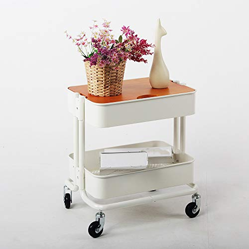 Two-Tier Rack Metal Cart with Wheels,Kitchen Multi-Function Fruit and Vegetable Trolley, Storage Cart Ersatile Storage Cupboard with Casters Utility Small Rolling Cart by Kitchen Cart (Image #4)