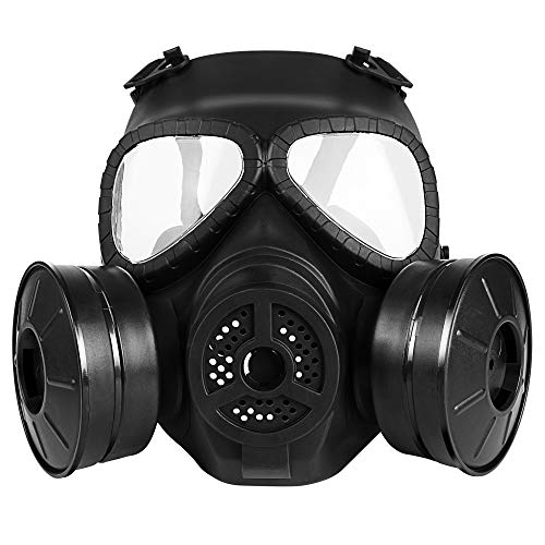 M04 Airsoft Tactical Protective Mask, Full Face Eye Protection Skull Dummy Toxic Gas Mask with Adjustable Strap for BB Gun CS Cosplay Costume Halloween Masquerade(No Batteries) (Two Filters, Black)]()