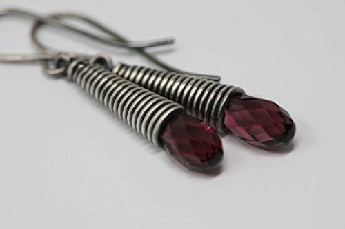 Briolette Hoop Crystal Earrings (Amethyst Crystal and Sterling Silver Drop Earrings in Antique Silver