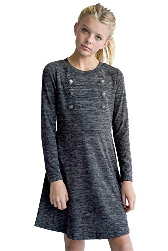 Smukke, Big Girls Military Style Long Sleeve Knit Dress (with Options), 7-16 (Charcoal, 10)