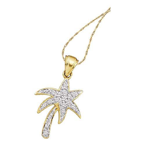 (Sonia Jewels 10K Yellow Two Tone Gold Prong Set Palm Tree Diamond Pendant Charm (1/10 cttw.) )