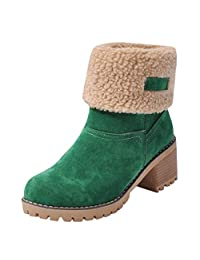 Yuxikong Women's Ice Slip Winter Snow Boot Flock Warm Shoes Martin Short Bootie