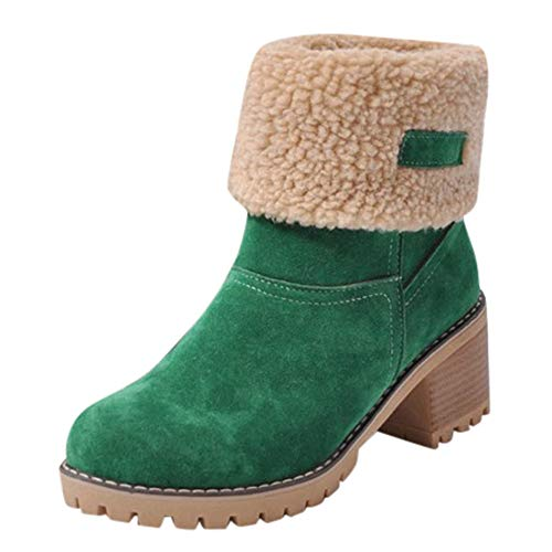 en's Fashion Boots Fold Down Fur Trim Combat Style Bootie 815 Ankle Boots Green ()