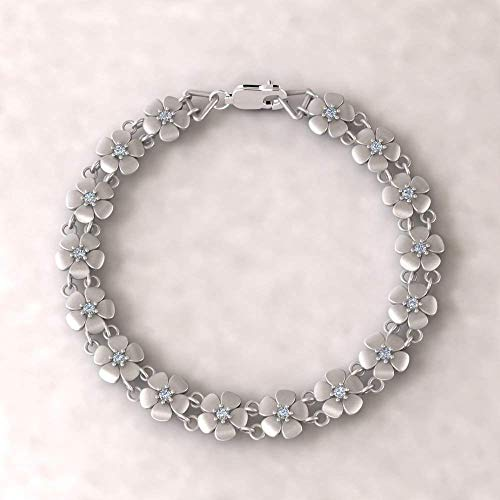Platinum Daisy Birthstone Bracelet - Flower Bracelet with Birthstones of Your Choice - LS4571