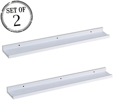 O K Furniture Picture Ledge Wall Shelf Display Floating Shelves White,31.5 Length, Set of 2