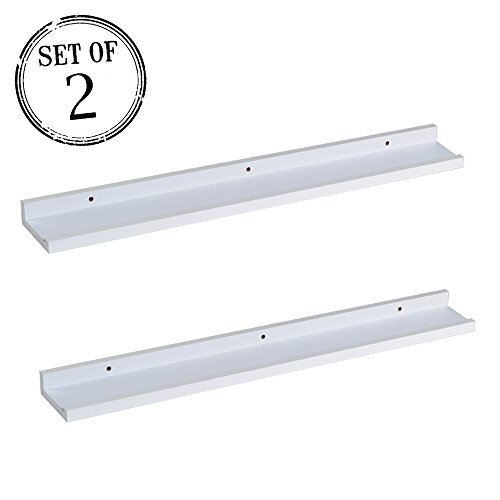 - O&K Furniture Picture Ledge Wall Shelf Display Floating Shelves (White,31.5