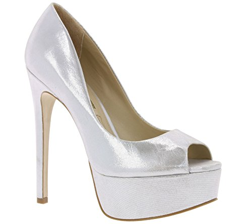Buffalo London Damen ZS 5666-15 Aqua Metal Pumps Silber