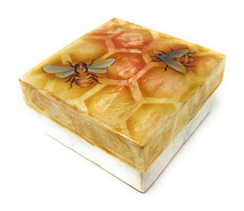 Kubla Crafts Honey Bees on Honeycomb Capiz Shell Keepsake, 3 inches Square