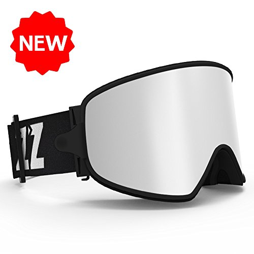 COPOZZ MX Ski Snow Goggles - 2-in-1 For Any Weather - Magnetic Interchangeable Lens , Triple Lens Anti Fog Frameless - For Women Men Youth Girls Boys Snowboard snowmobile Skiing Silver