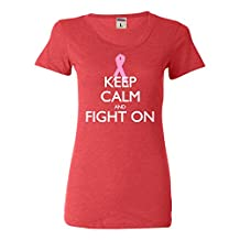 Womens Keep Calm And Fight On Breast Cancer Awareness Tri-Blend T-shirt