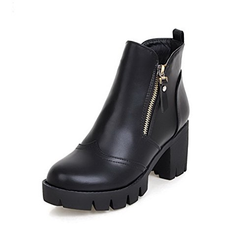 AgooLar Women's Zipper High-Heels PU Solid Low Top Boots Black ZKUQMv