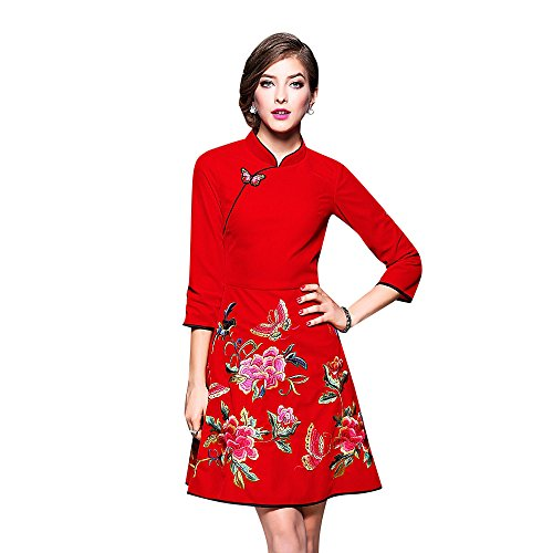 Dezzal Women's Floral Embroidered A-line Cocktail Party V...