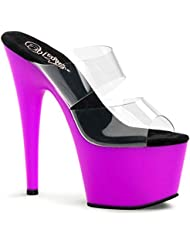 Summitfashions Womens Captivating Purple UV Reactive Shoes High Heel Sandals with 7 Inch Heels