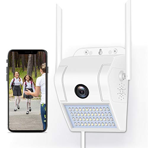Outdoor Security Camera, 1080P WiFi IP Camera with Motion Sensor Floodlight, Support Color Night Vision Motion Detection Two-Way Talk Waterproof CCTV Camera (Elegant White)