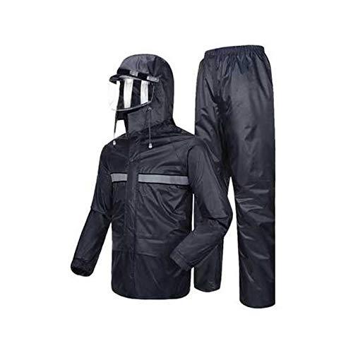 Marine Medium JTWJ Pantalon imperméable Masque de Pluie Costume Double imperméable Adulte et Adulte imperméable, imperméable portable (Couleur   Marine, Taille   XXXL)