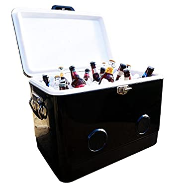 BREKX 54 Quart Black Party Cooler with High-Powered Bluetooth Speakers As Seen On TV