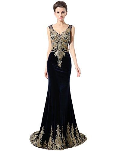 Belle House Women's Long V Neck Formal Evening Gown Beaded Prom Dresses