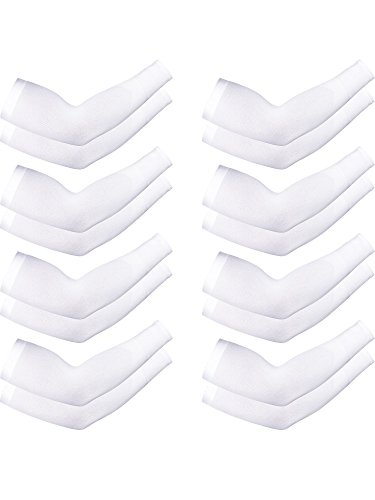 Boao 8 Pairs Unisex Arm Sleeves UV Sun Protection Cooling Sleeves for Driving Jogging Golfing Riding Outdoor Activities (White)